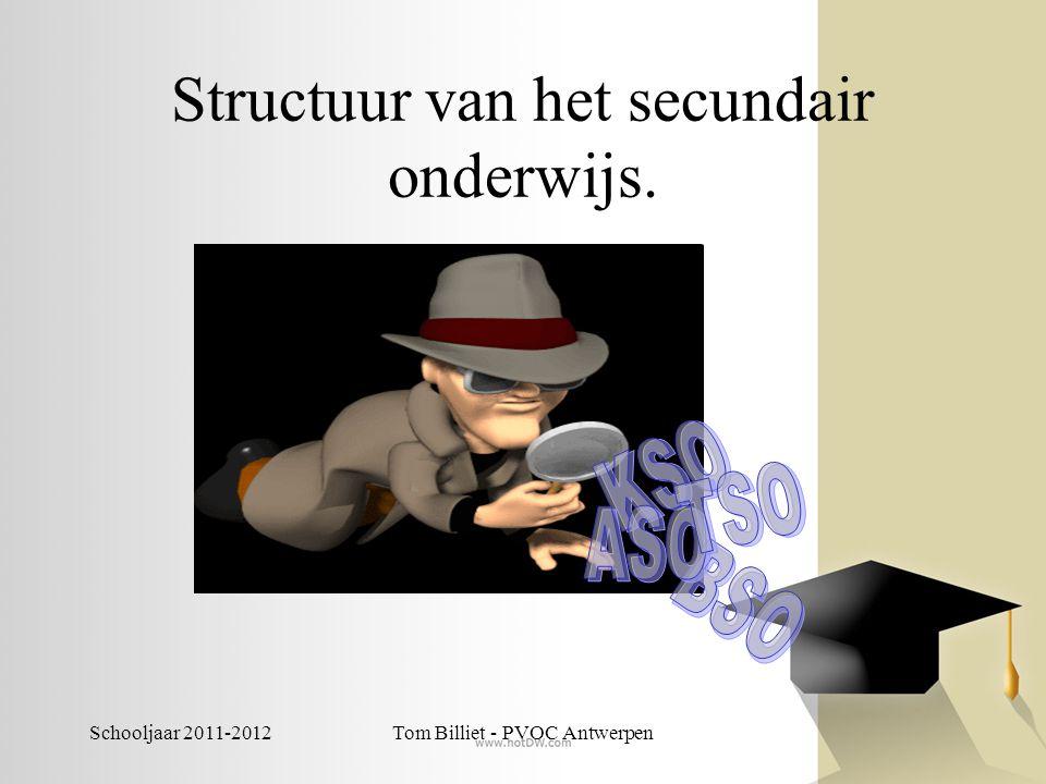 Schooljaar 2011-2012Tom Billiet - PVOC Antwerpen Structuur van het secundair onderwijs.
