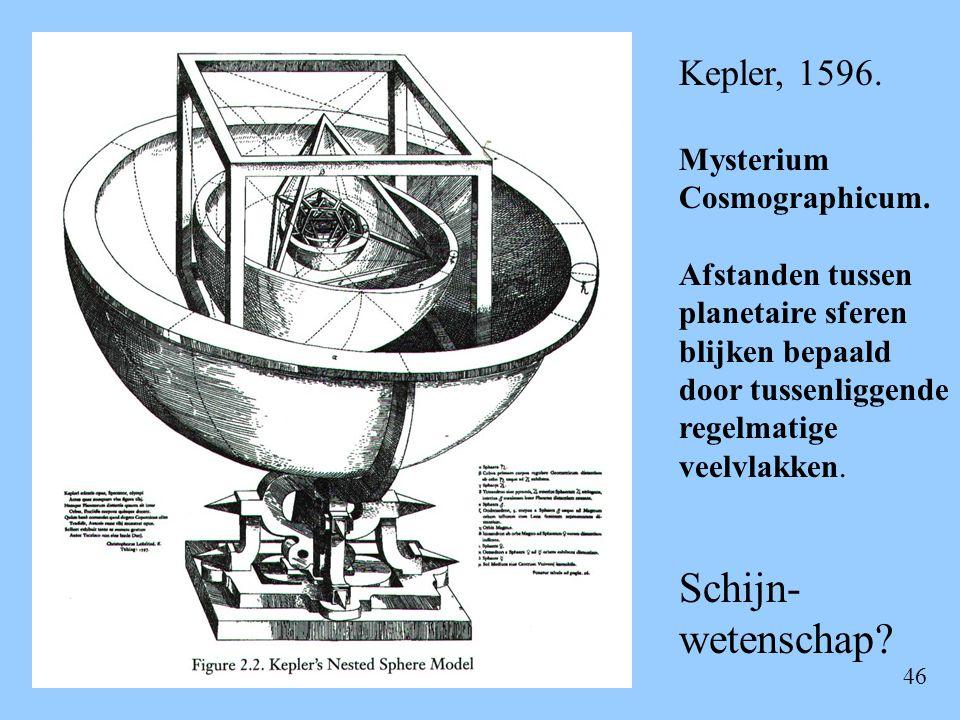 46 Kepler, 1596. Mysterium Cosmographicum. Afstanden tussen planetaire sferen blijken bepaald door tussenliggende regelmatige veelvlakken. Schijn- wet