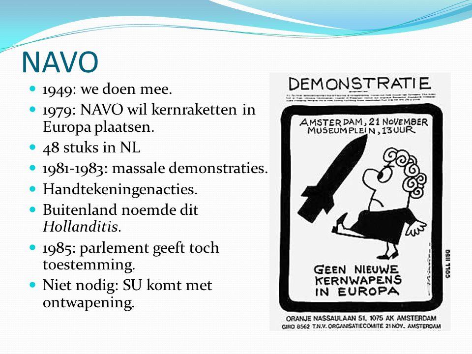 NAVO  1949: we doen mee.  1979: NAVO wil kernraketten in Europa plaatsen.  48 stuks in NL  1981-1983: massale demonstraties.  Handtekeningenactie