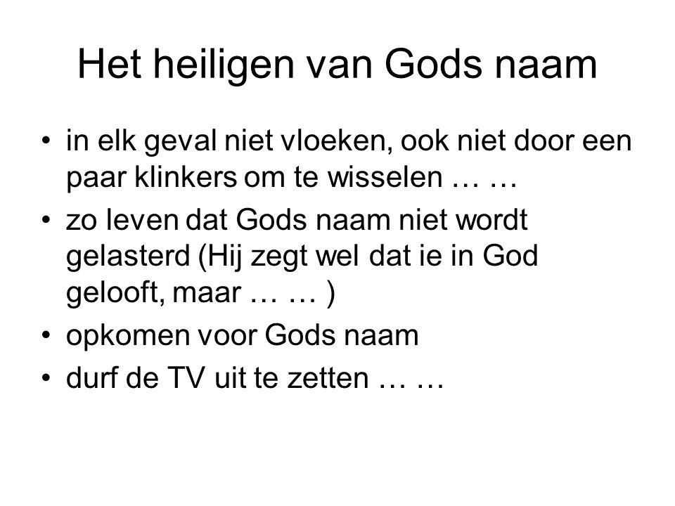 Het heiligen van Gods naam •in elk geval niet vloeken, ook niet door een paar klinkers om te wisselen … … •zo leven dat Gods naam niet wordt gelasterd