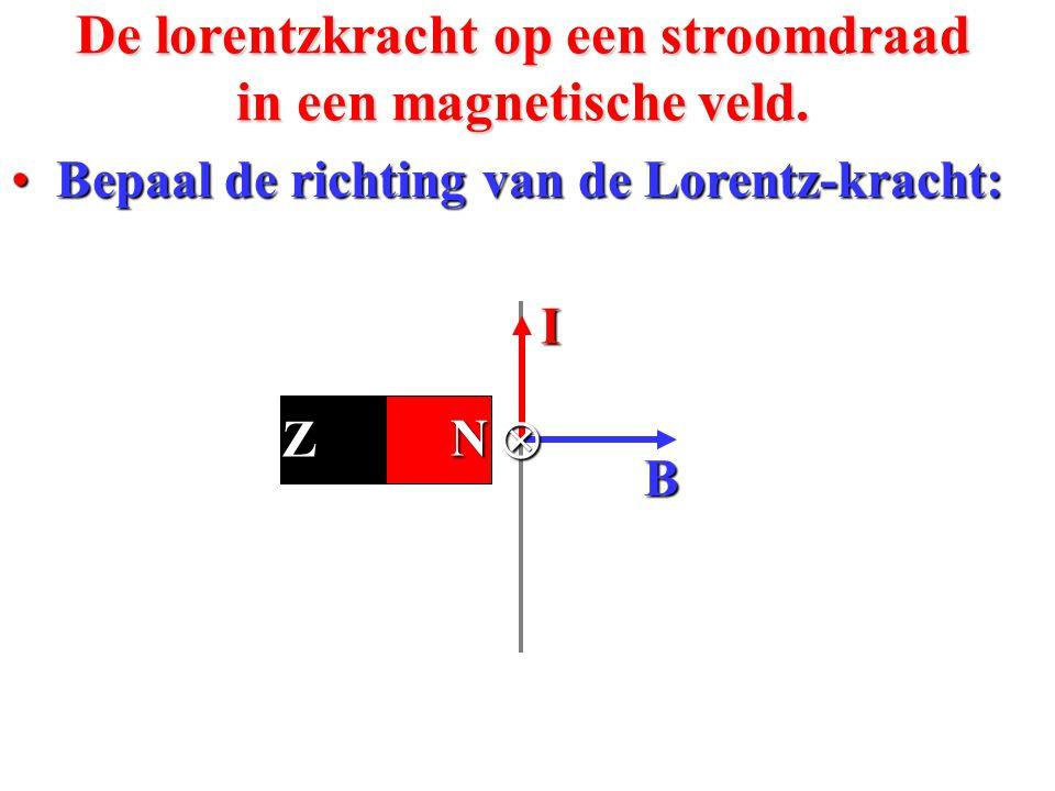 • Bepaal de richting van de Lorentz-kracht: De lorentzkracht op een stroomdraad in een magnetische veld. FLFLFLFL I B