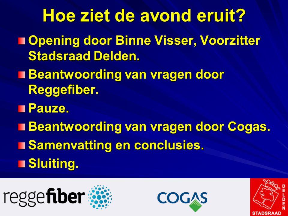 Hoe ziet de avond eruit? Opening door Binne Visser, Voorzitter Stadsraad Delden. Beantwoording van vragen door Reggefiber. Pauze. Beantwoording van vr