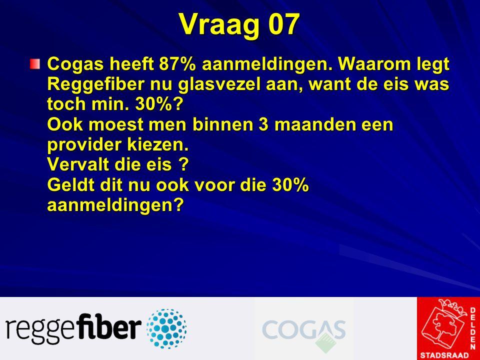 Vraag 07 Cogas heeft 87% aanmeldingen. Waarom legt Reggefiber nu glasvezel aan, want de eis was toch min. 30%? Ook moest men binnen 3 maanden een prov