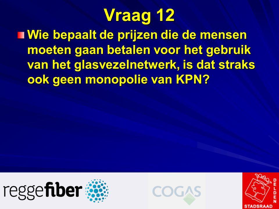 Vraag 12 Wie bepaalt de prijzen die de mensen moeten gaan betalen voor het gebruik van het glasvezelnetwerk, is dat straks ook geen monopolie van KPN?