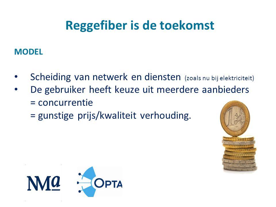 Reggefiber is de toekomst MODEL • Scheiding van netwerk en diensten (zoals nu bij elektriciteit) • De gebruiker heeft keuze uit meerdere aanbieders =