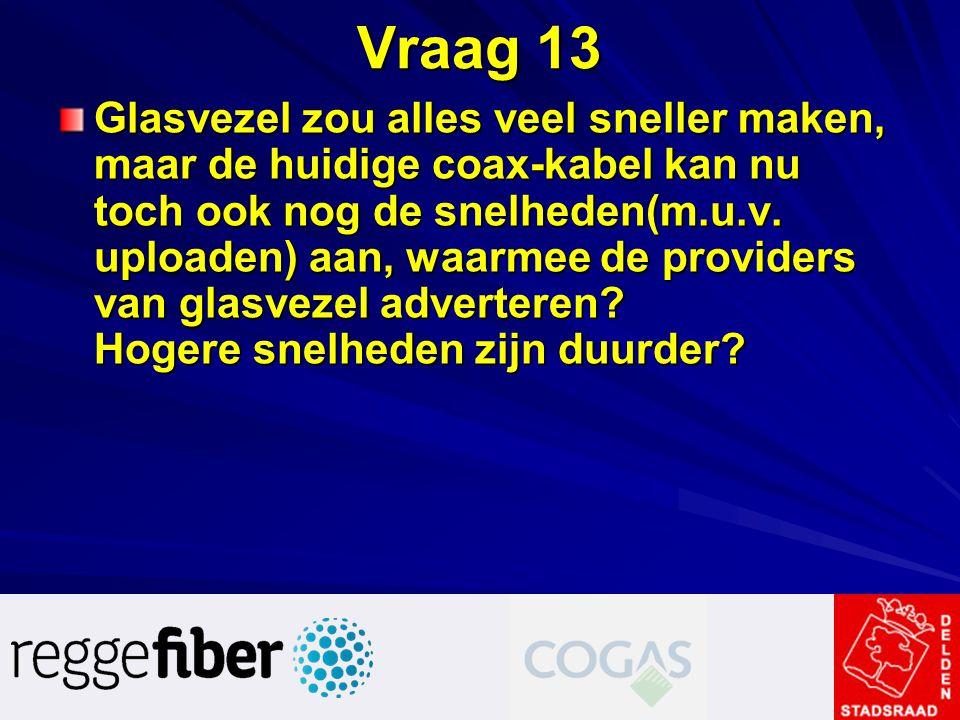 Vraag 13 Glasvezel zou alles veel sneller maken, maar de huidige coax-kabel kan nu toch ook nog de snelheden(m.u.v. uploaden) aan, waarmee de provider