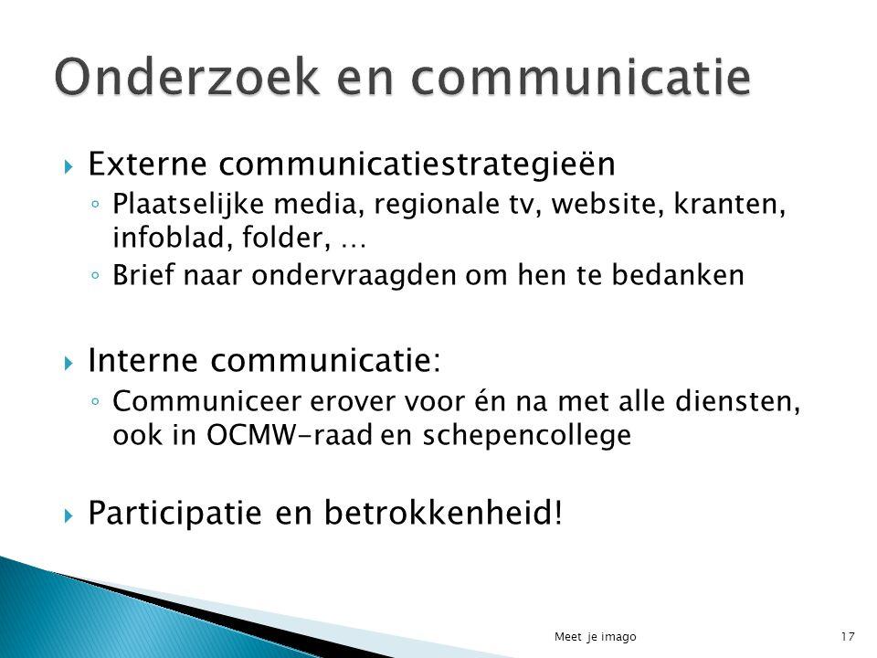  Externe communicatiestrategieën ◦ Plaatselijke media, regionale tv, website, kranten, infoblad, folder, … ◦ Brief naar ondervraagden om hen te bedan