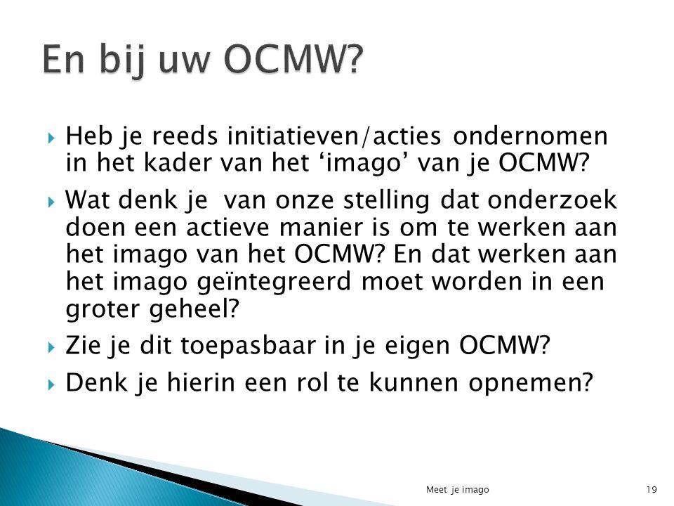  Heb je reeds initiatieven/acties ondernomen in het kader van het 'imago' van je OCMW?  Wat denk je van onze stelling dat onderzoek doen een actieve