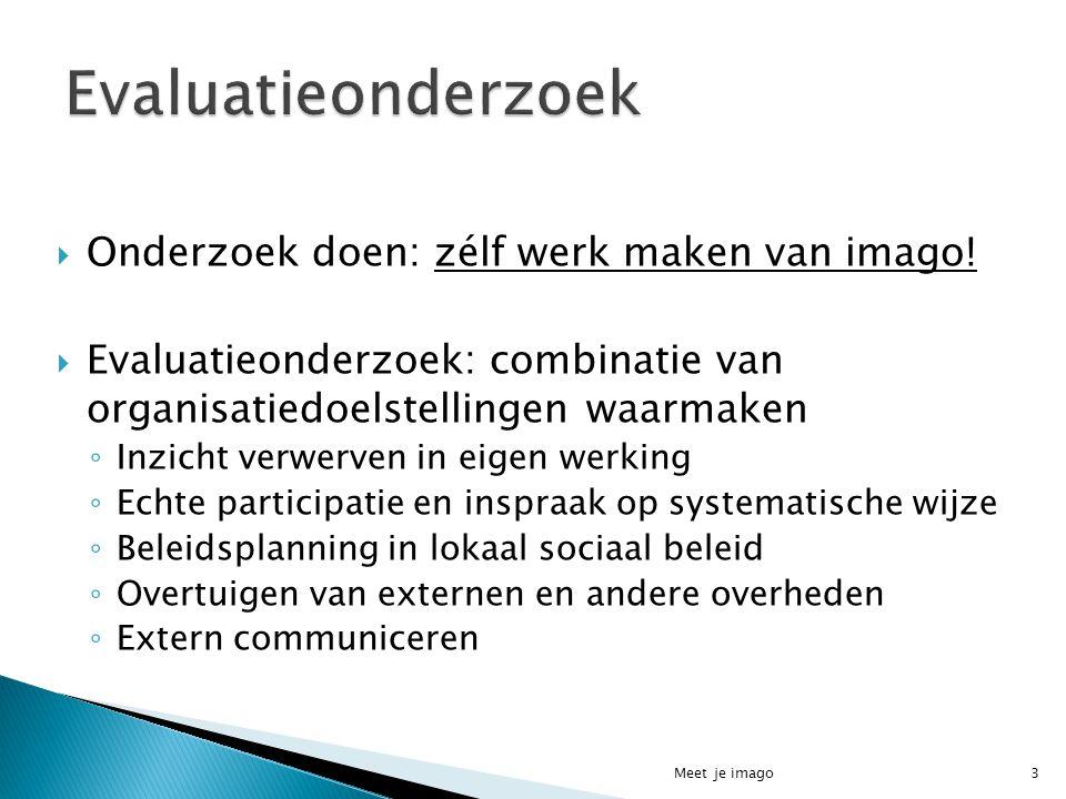  Onderzoek doen: zélf werk maken van imago!  Evaluatieonderzoek: combinatie van organisatiedoelstellingen waarmaken ◦ Inzicht verwerven in eigen wer