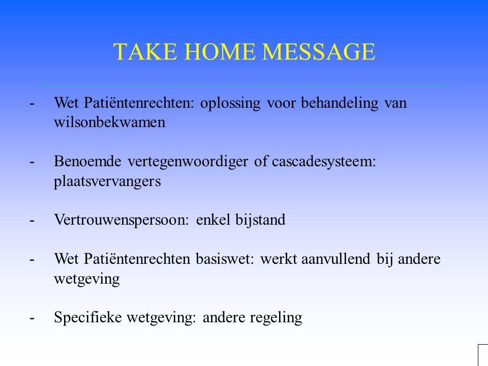 TAKE HOME MESSAGE -Wet Patiëntenrechten: oplossing voor behandeling van wilsonbekwamen -Benoemde vertegenwoordiger of cascadesysteem: plaatsvervangers