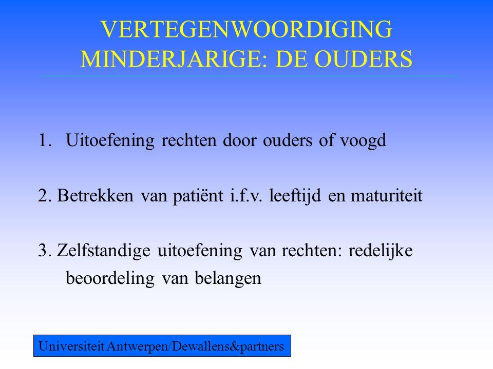 VERTEGENWOORDIGING MINDERJARIGE: DE OUDERS 1.Uitoefening rechten door ouders of voogd 2. Betrekken van patiënt i.f.v. leeftijd en maturiteit 3. Zelfst