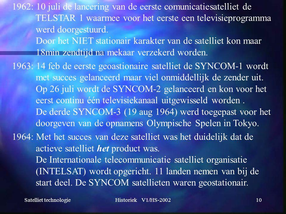 Satelliet technologieHistoriek V1/HS-200210 1962: 10 juli de lancering van de eerste comunicatiesatelliet de TELSTAR 1 waarmee voor het eerste een tel