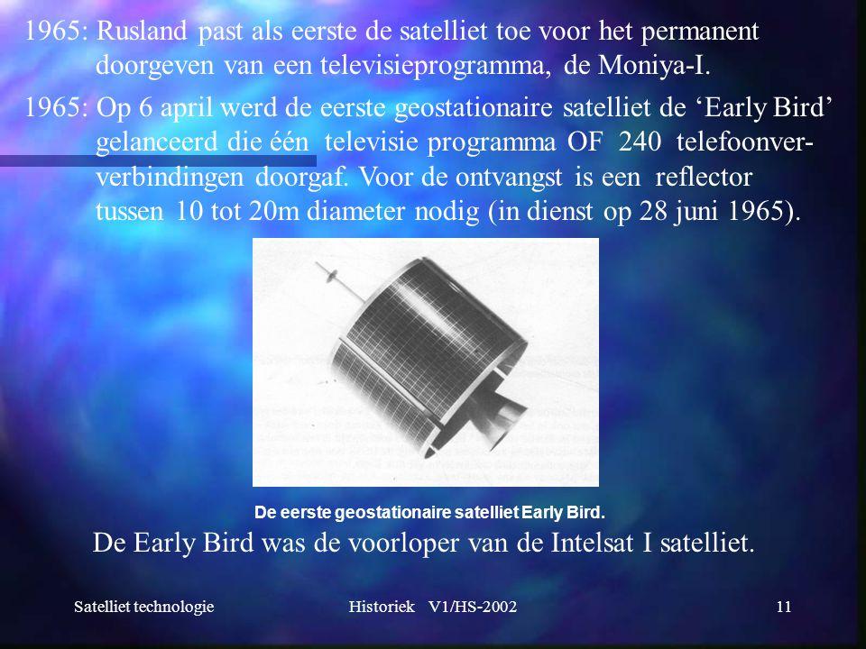 Satelliet technologieHistoriek V1/HS-200211 1965: Rusland past als eerste de satelliet toe voor het permanent doorgeven van een televisieprogramma, de