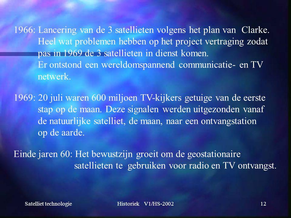 Satelliet technologieHistoriek V1/HS-200212 1966: Lancering van de 3 satellieten volgens het plan van Clarke. Heel wat problemen hebben op het project