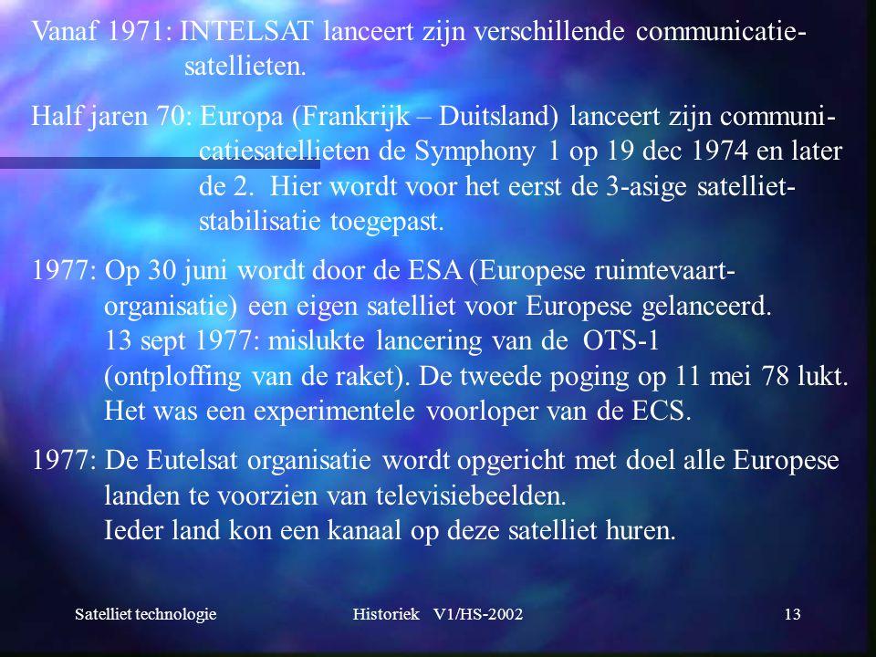 Satelliet technologieHistoriek V1/HS-200213 Vanaf 1971: INTELSAT lanceert zijn verschillende communicatie- satellieten. Half jaren 70: Europa (Frankri