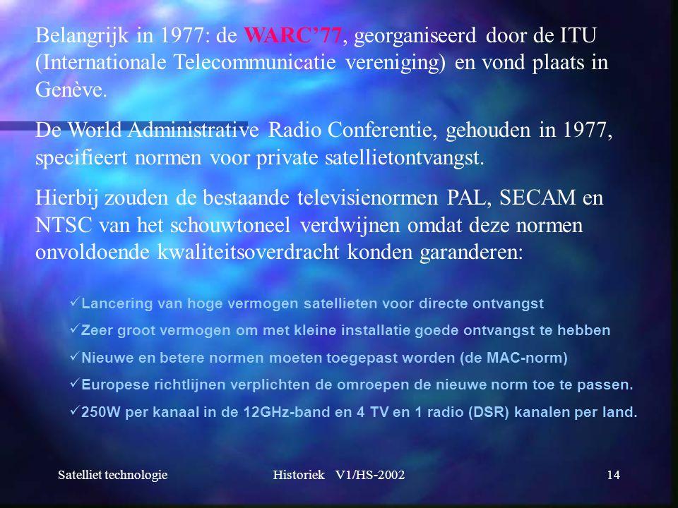 Satelliet technologieHistoriek V1/HS-200214 Belangrijk in 1977: de WARC'77, georganiseerd door de ITU (Internationale Telecommunicatie vereniging) en