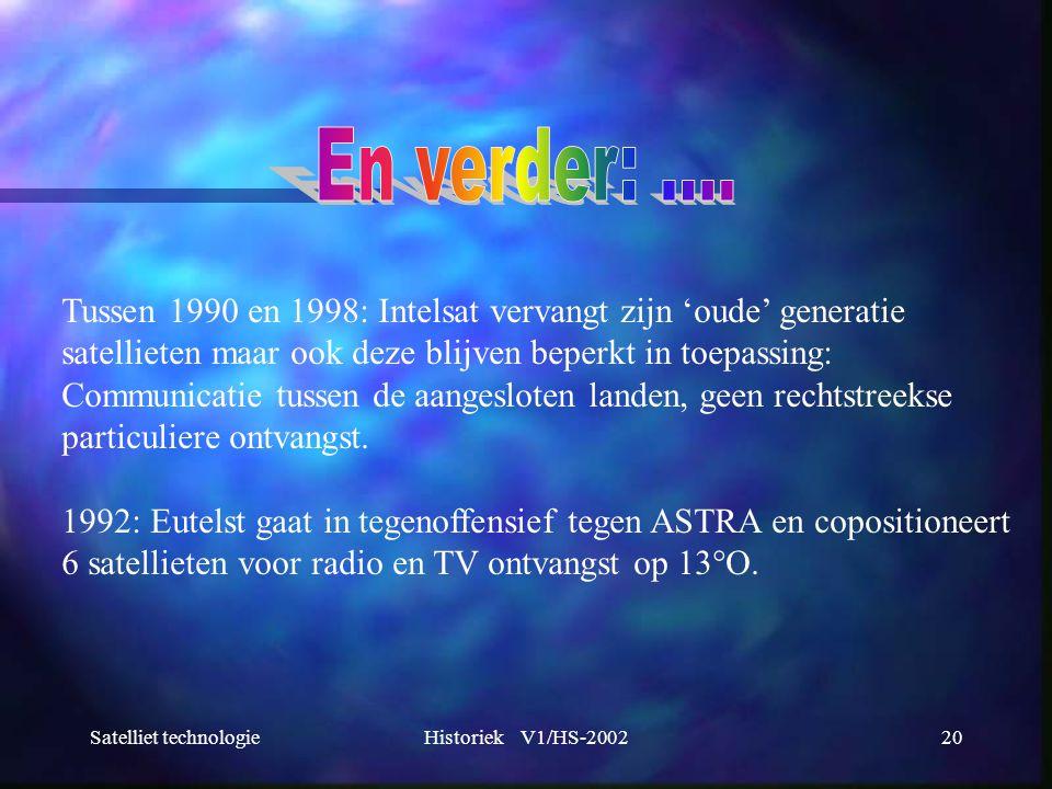 Satelliet technologieHistoriek V1/HS-200220 Tussen 1990 en 1998: Intelsat vervangt zijn 'oude' generatie satellieten maar ook deze blijven beperkt in