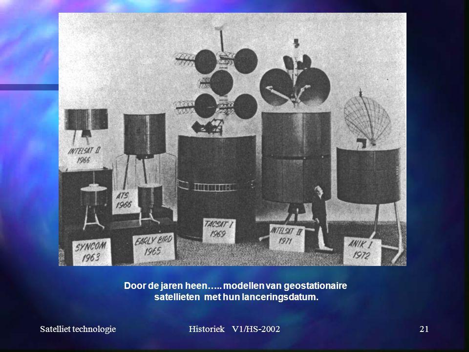 Satelliet technologieHistoriek V1/HS-200221 Door de jaren heen….. modellen van geostationaire satellieten met hun lanceringsdatum.