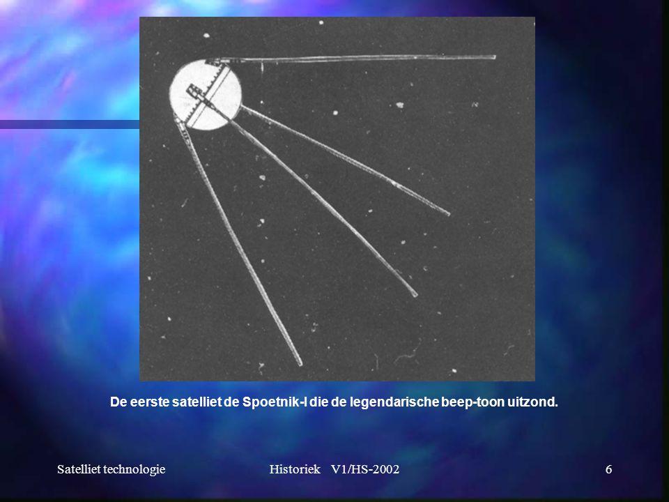 Satelliet technologieHistoriek V1/HS-20026 De eerste satelliet de Spoetnik-I die de legendarische beep-toon uitzond.