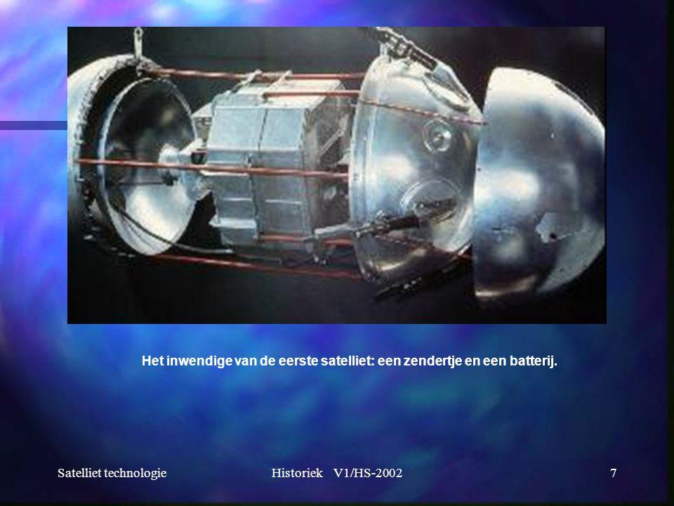 Satelliet technologieHistoriek V1/HS-20027 Het inwendige van de eerste satelliet: een zendertje en een batterij.