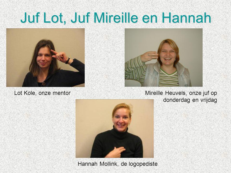 Juf Lot, Juf Mireille en Hannah Lot Kole, onze mentorMireille Heuvels, onze juf op donderdag en vrijdag Hannah Mollink, de logopediste