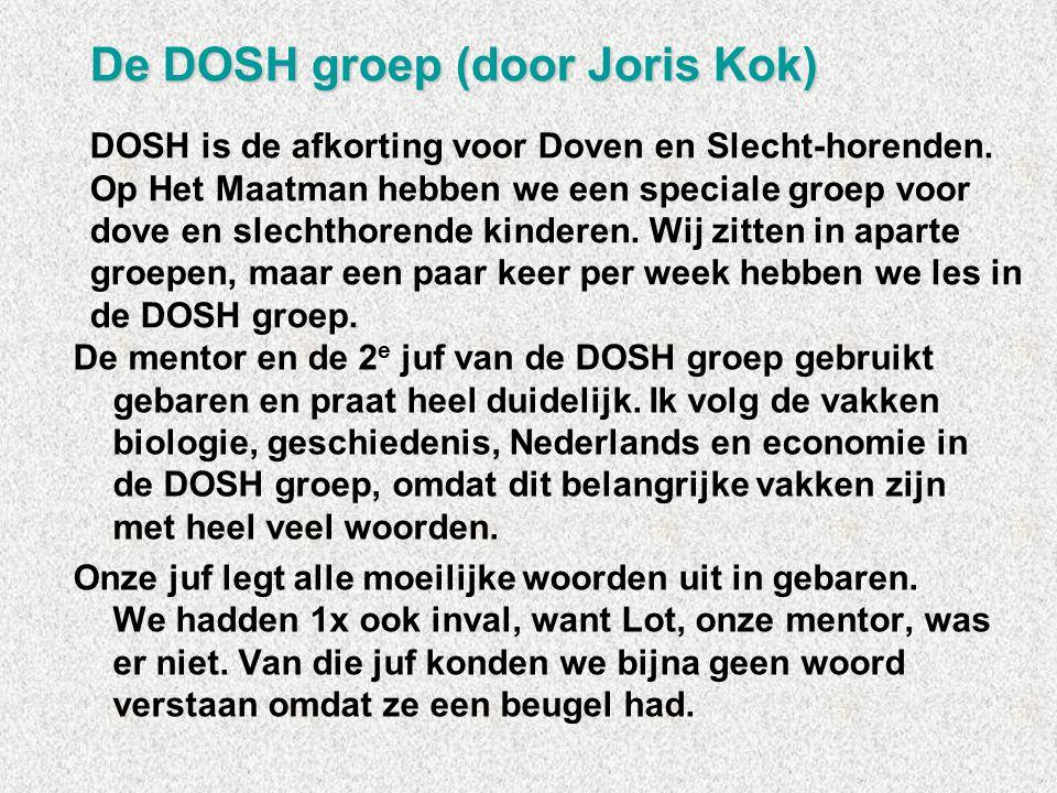 De mentor en de 2 e juf van de DOSH groep gebruikt gebaren en praat heel duidelijk. Ik volg de vakken biologie, geschiedenis, Nederlands en economie i