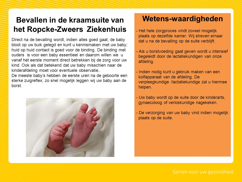 Bevallen in de kraamsuite van het Ropcke-Zweers Ziekenhuis Direct na de bevalling wordt, indien alles goed gaat, de baby bloot op uw buik gelegd en ku