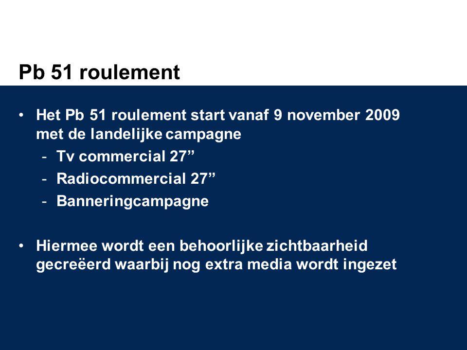 Pb 51 roulement •Het Pb 51 roulement start vanaf 9 november 2009 met de landelijke campagne Tv commercial 27 Radiocommercial 27 Banneringcampagne •Hiermee wordt een behoorlijke zichtbaarheid gecreëerd waarbij nog extra media wordt ingezet