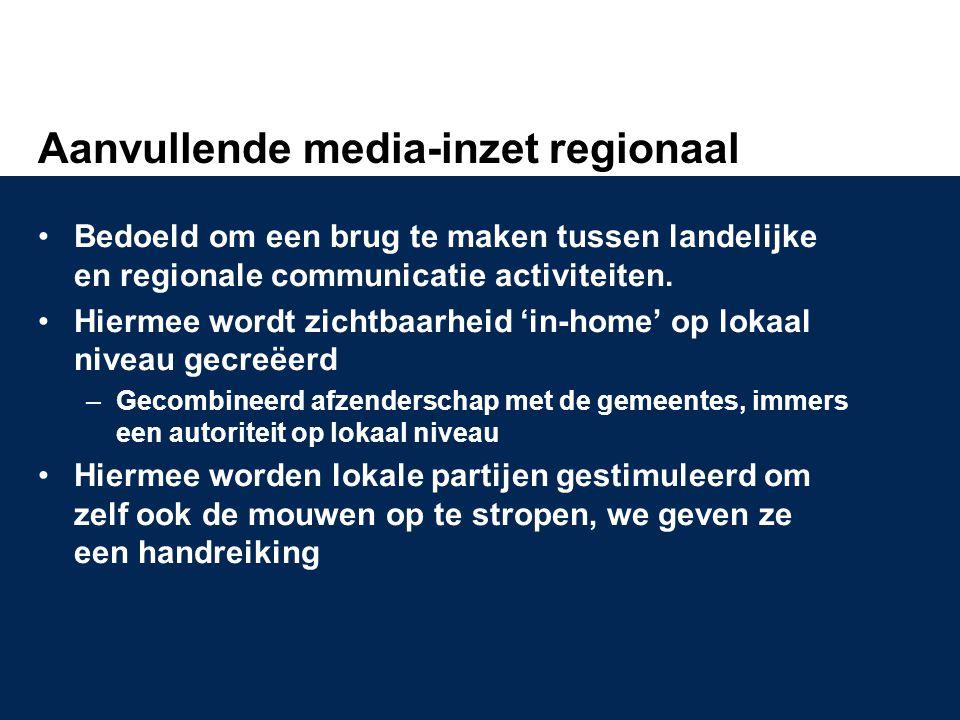 Aanvullende media-inzet regionaal •Bedoeld om een brug te maken tussen landelijke en regionale communicatie activiteiten. •Hiermee wordt zichtbaarheid