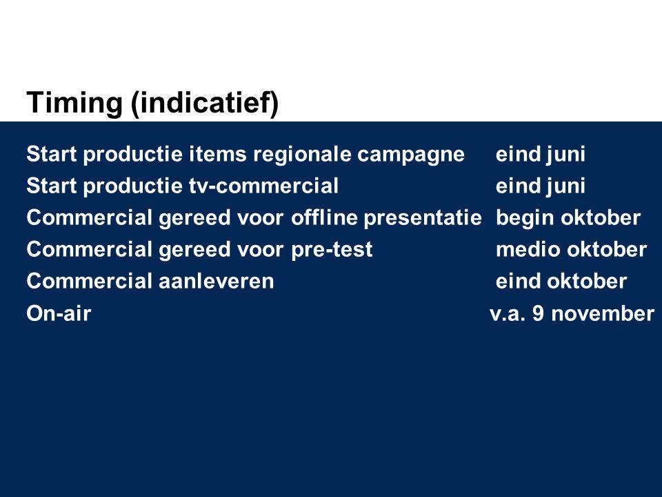 Timing (indicatief) Start productie items regionale campagne eind juni Start productie tv-commercial eind juni Commercial gereed voor offline presenta