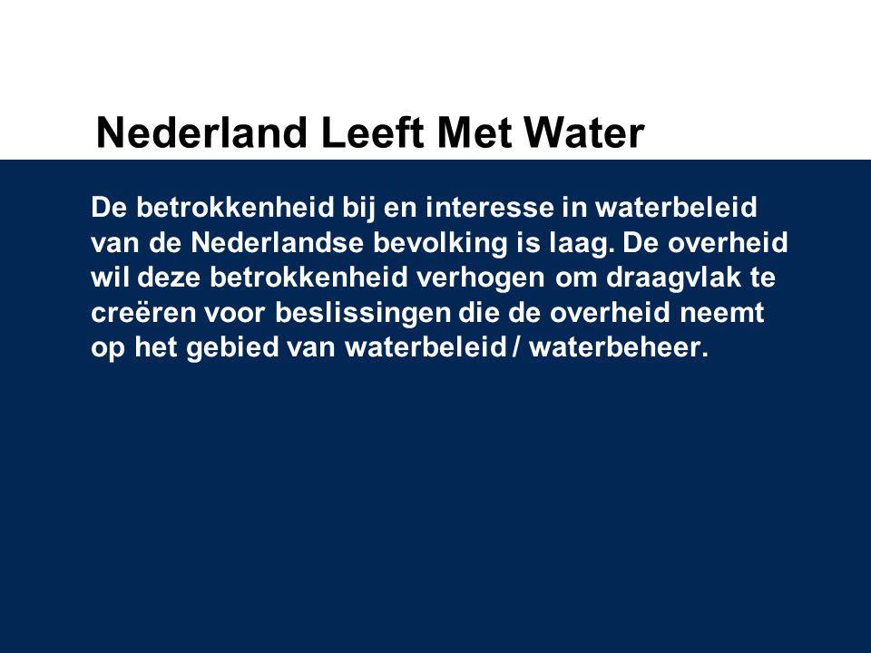 Nederland Leeft Met Water De betrokkenheid bij en interesse in waterbeleid van de Nederlandse bevolking is laag. De overheid wil deze betrokkenheid ve