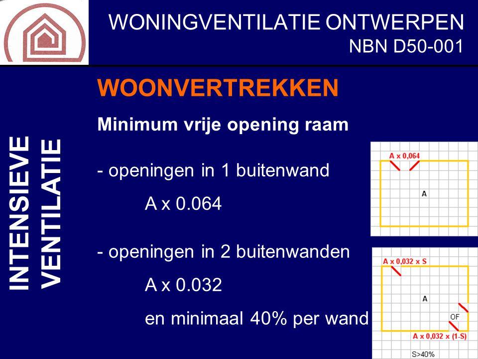 WONINGVENTILATIE ONTWERPEN NBN D50-001 INTENSIEVE VENTILATIE WOONVERTREKKEN Minimum vrije opening raam - openingen in 1 buitenwand A x 0.064 - opening