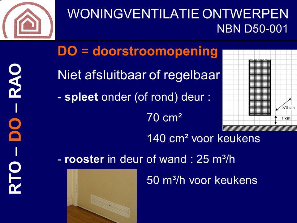 WONINGVENTILATIE ONTWERPEN NBN D50-001 DO = doorstroomopening Niet afsluitbaar of regelbaar - spleet onder (of rond) deur : 70 cm² 140 cm² voor keuken