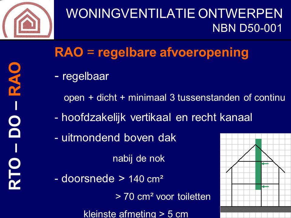 WONINGVENTILATIE ONTWERPEN NBN D50-001 RAO = regelbare afvoeropening - regelbaar open + dicht + minimaal 3 tussenstanden of continu - hoofdzakelijk ve