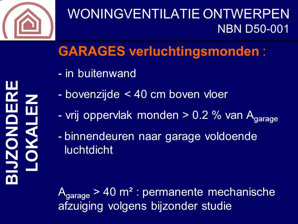 WONINGVENTILATIE ONTWERPEN NBN D50-001 BIJZONDERE LOKALEN GARAGES verluchtingsmonden : - in buitenwand - bovenzijde < 40 cm boven vloer - vrij oppervl