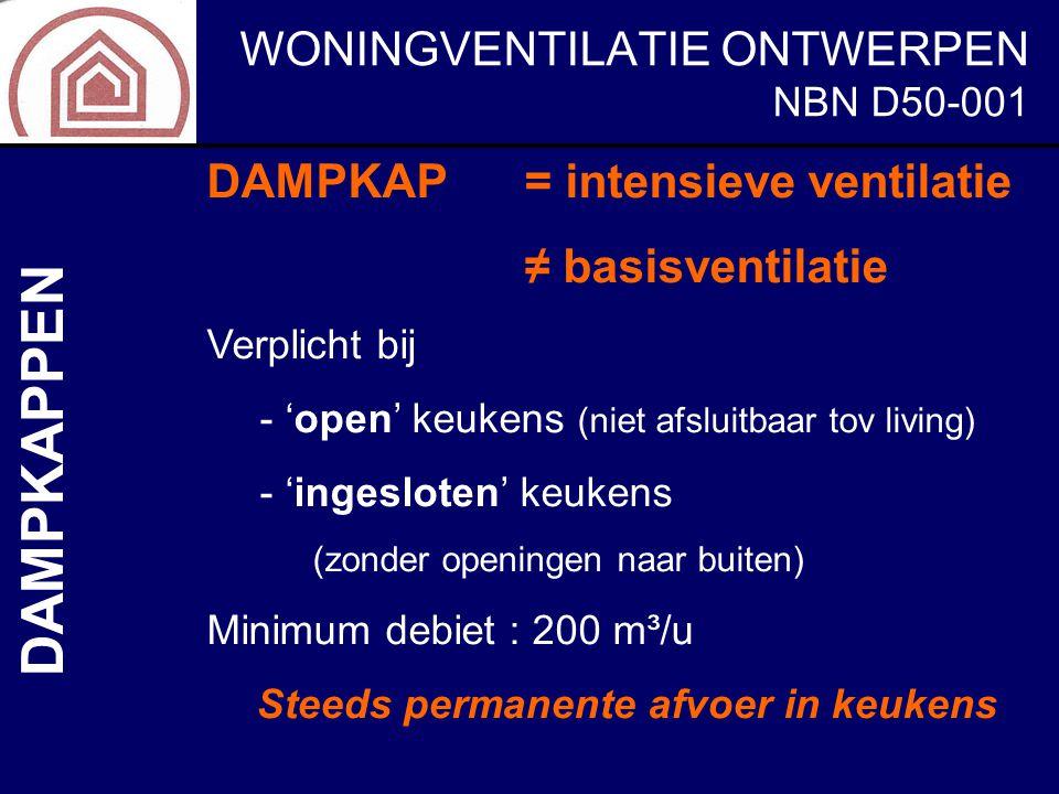 WONINGVENTILATIE ONTWERPEN NBN D50-001 DAMPKAPPEN DAMPKAP= intensieve ventilatie ≠ basisventilatie Verplicht bij - 'open' keukens (niet afsluitbaar to