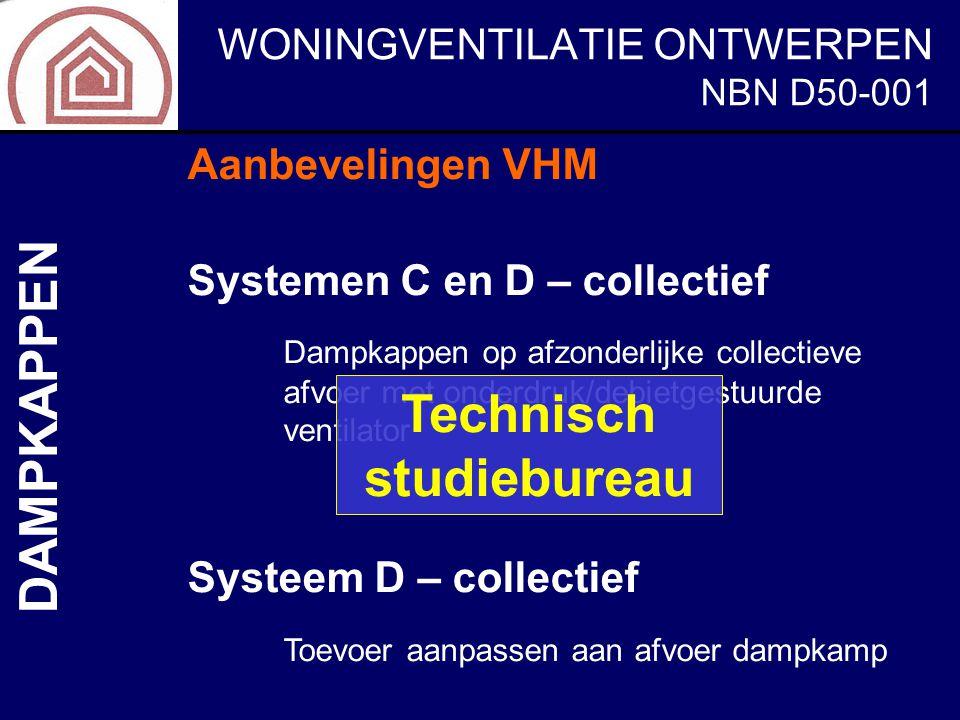 WONINGVENTILATIE ONTWERPEN NBN D50-001 DAMPKAPPEN Aanbevelingen VHM Systemen C en D – collectief Dampkappen op afzonderlijke collectieve afvoer met on