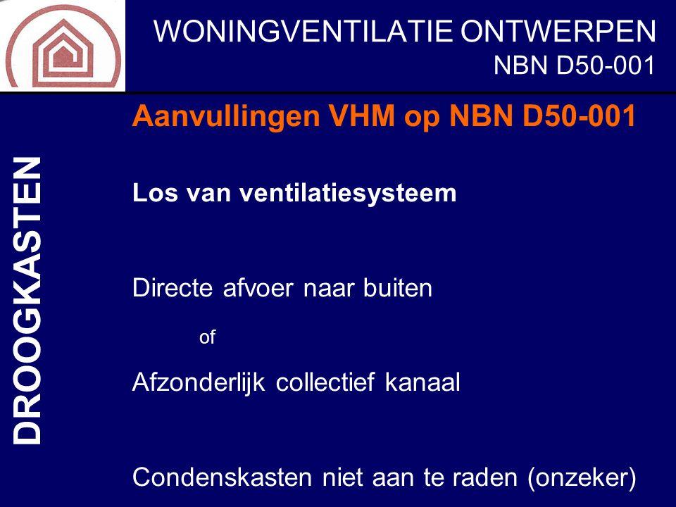 WONINGVENTILATIE ONTWERPEN NBN D50-001 DROOGKASTEN Aanvullingen VHM op NBN D50-001 Los van ventilatiesysteem Directe afvoer naar buiten of Afzonderlij