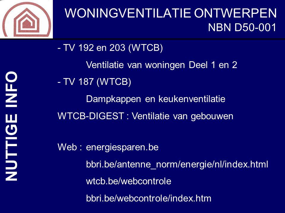 WONINGVENTILATIE ONTWERPEN NBN D50-001 NUTTIGE INFO - TV 192 en 203 (WTCB) Ventilatie van woningen Deel 1 en 2 - TV 187 (WTCB) Dampkappen en keukenven