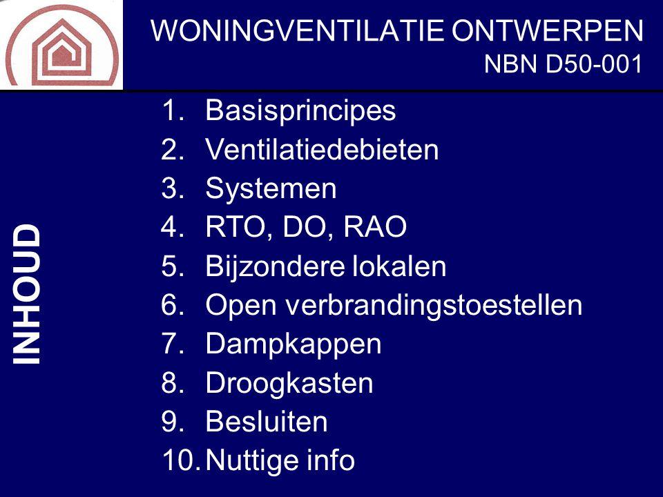 1.Basisprincipes 2.Ventilatiedebieten 3.Systemen 4.RTO, DO, RAO 5.Bijzondere lokalen 6.Open verbrandingstoestellen 7.Dampkappen 8.Droogkasten 9.Beslui