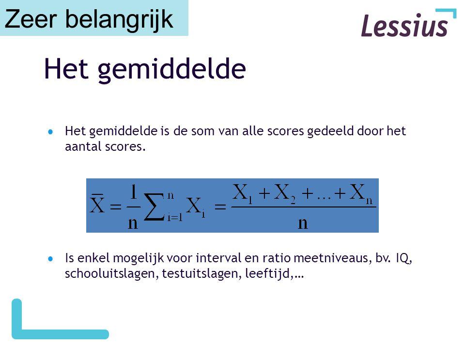 Het gemiddelde  Het gemiddelde is de som van alle scores gedeeld door het aantal scores.  Is enkel mogelijk voor interval en ratio meetniveaus, bv.