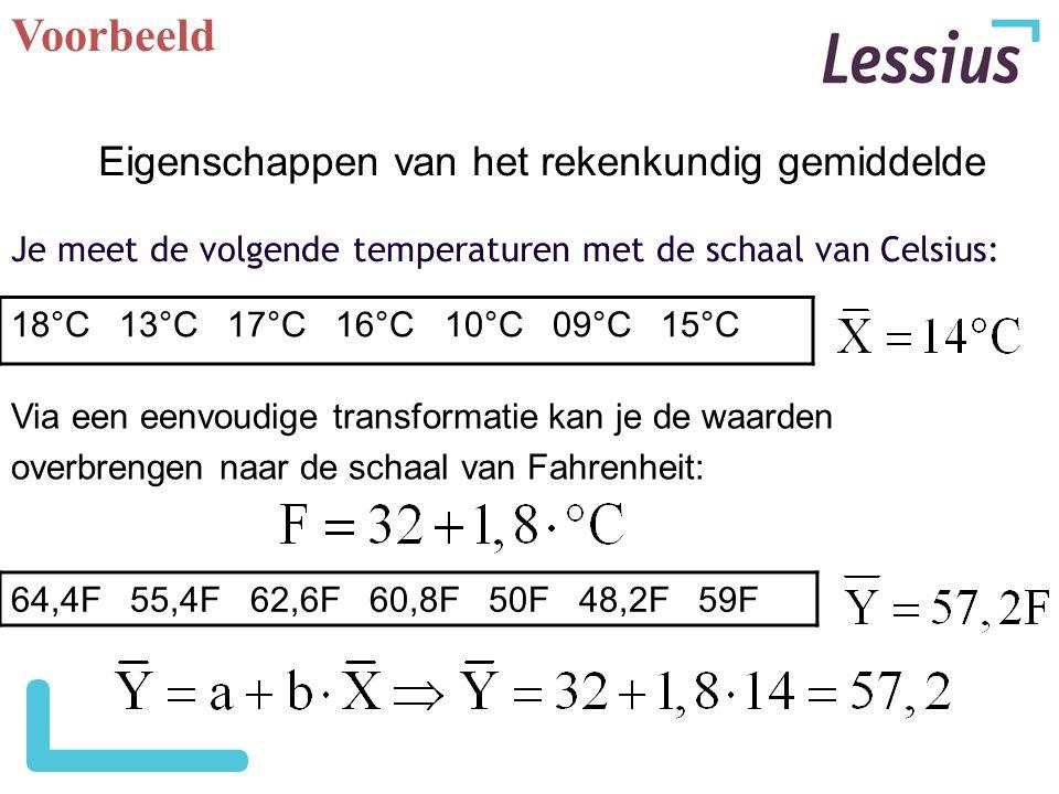 Voorbeeld Je meet de volgende temperaturen met de schaal van Celsius: 18°C 13°C 17°C 16°C 10°C 09°C 15°C Via een eenvoudige transformatie kan je de wa