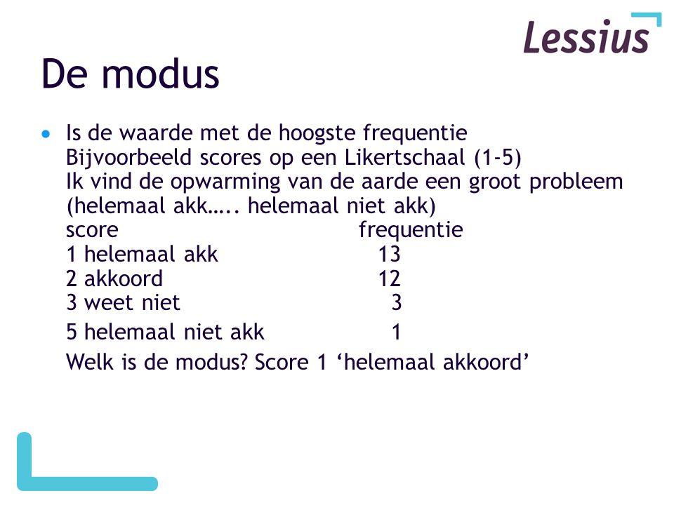 De modus  Is de waarde met de hoogste frequentie Bijvoorbeeld scores op een Likertschaal (1-5) Ik vind de opwarming van de aarde een groot probleem (