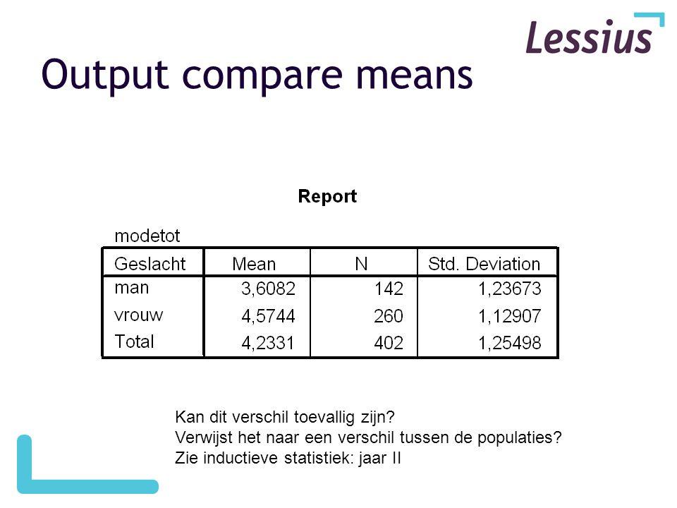 Output compare means Kan dit verschil toevallig zijn? Verwijst het naar een verschil tussen de populaties? Zie inductieve statistiek: jaar II