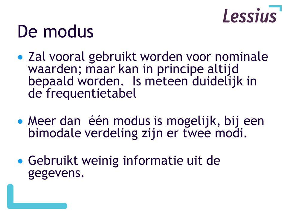 De modus  Zal vooral gebruikt worden voor nominale waarden; maar kan in principe altijd bepaald worden.