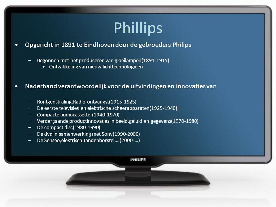 Phillips •Opgericht in 1891 te Eindhoven door de gebroeders Philips –Begonnen met het produceren van gloeilampen(1891-1915) •Ontwikkeling van nieuw lichttechnologieën •Naderhand verantwoordelijk voor de uitvindingen en innovaties van –Röntgenstraling,Radio-ontvangst(1915-1925) –De eerste televisies en elektrische scheerapparaten(1925-1940) –Compacte audiocassette (1940-1970) –Verdergaande productinnovaties in beeld,geluid en gegevens(1970-1980) –De compact disc(1980-1990) –De dvd in samenwerking met Sony(1990-2000) –De Senseo,elektrisch tandenborstel,…(2000-…)