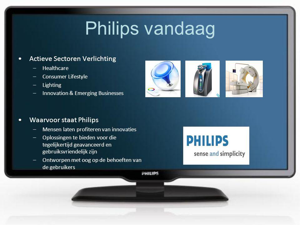 Philips vandaag •Actieve Sectoren Verlichting –Healthcare –Consumer Lifestyle –Lighting –Innovation & Emerging Businesses •Waarvoor staat Philips –Mensen laten profiteren van innovaties –Oplossingen te bieden voor die tegelijkertijd geavanceerd en gebruiksvriendelijk zijn –Ontworpen met oog op de behoeften van de gebruikers