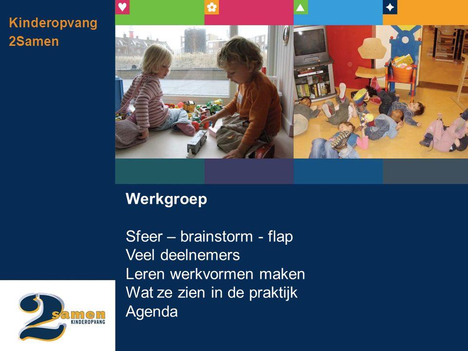 Kinderopvang 2Samen Werkgroep Sfeer – brainstorm - flap Veel deelnemers Leren werkvormen maken Wat ze zien in de praktijk Agenda