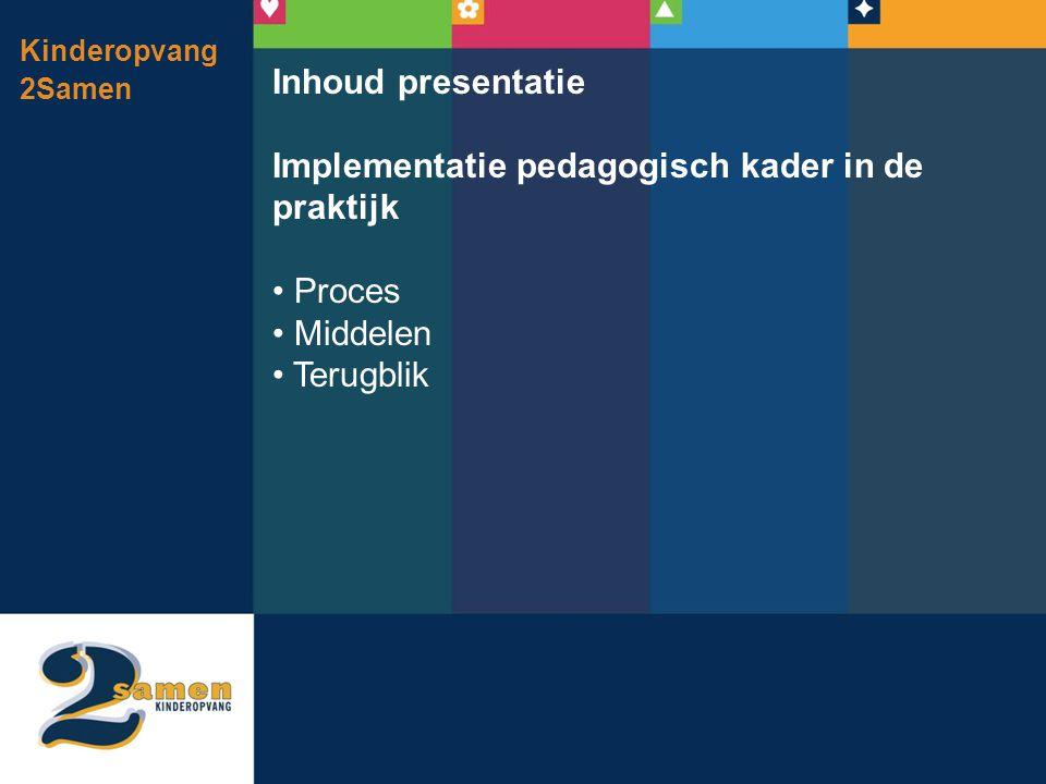 Kinderopvang 2Samen Inhoud presentatie Implementatie pedagogisch kader in de praktijk • Proces • Middelen • Terugblik