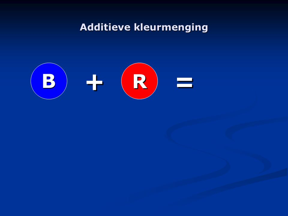 Additieve kleurmenging R R B B + + = =